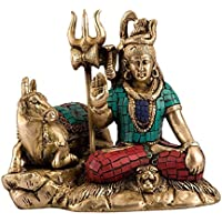 Collectible India Lord Shiva Idol Hindu God Brass Sculpture Sitting Shiva With Nandi Statue Diwali Decor Gifts