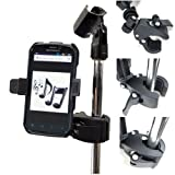 ChargerCity Music Mic Microphone Stand Smartphone Clamp Mount with 360° Swivel Holder for Apple iPhone XR XS MAX X 8 7 Plus Samsung Galaxy S8 S9 9 Note Moto Droid LG V30 phones (Color: Black)