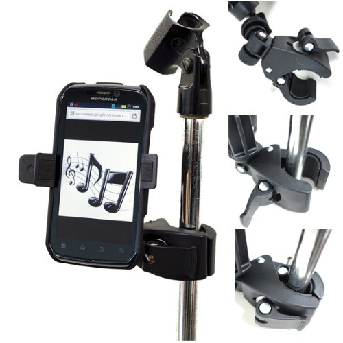 """Chargercity Microphone Stand Smartphone Mount With Multi Angle Adjustment 360° Swivel Holder For Apple Iphone 3Gs 4 4S Samsung Galaxy S S1 S2 S3 I Ii Iii Htc One X S V Incredible Evo 4G Lte Motorola Atrix Droid 4 3 2 Razr Maxx Bionic Phones With 3'5"""" To 4"""