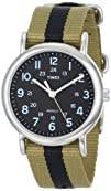 Timex Unisex T2P2369J 8220Weekender Olive and Black Stripe
