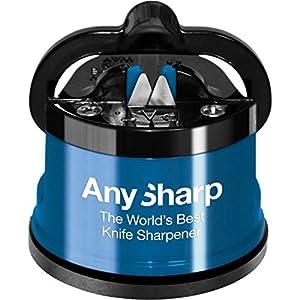 AnySharp Aiguiseur de Couteaux avec Ventouse Bleu