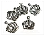 5 x Antique Silver Plated CROWN Charms 24mm Jump rings included for attachments Universal use for Jewellery Card Making Ref10A65A