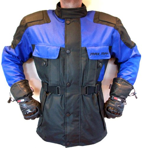 MAX MPH STORM Textile Cordura Motorcycle, Scooter Jacket - armour, waterproof  &  breathable (Blue/Black)