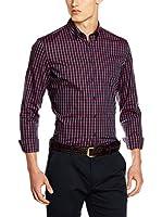 Seidensticker Camisa Vestir Super Slim (Vino / Azul)