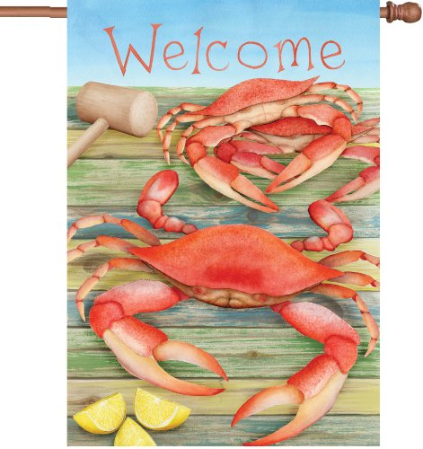 Premier Kites 52052 House Illuminated Flag, Welcome Crabs, 28 by 40-Inch
