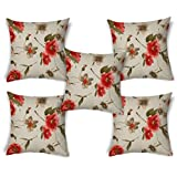ShopMantra Grunge Flower Pattern Printed Cushion Cover Set Of 5 16*16 Inch Multicolor Cushion Cover