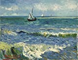 Wieco Art - Seascape at Saintes Maries by Vincent Van Gogh Oil Paintings Reproduction, Canvas Prints Giclee Artwork for Wall Decor, Stretched and Framed Art work, Modern Canvas Wall Art for Home and office Decoration Landscape Picture Print on Canvas Art V0019 24 by 20 inch