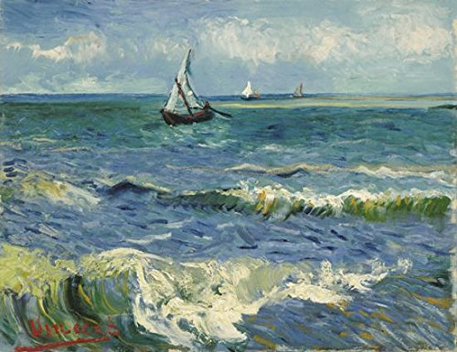Wieco Art – Seascape at Saintes Maries by Vincent Van Gogh Oil Paintings Reproduction, Canvas Prints Giclee Artwork for Wall Decor, Stretched and Framed Art work, Modern Canvas Wall Art for Home and office Decoration Landscape Picture Print on Canvas Art V0019 24 by 20 inch
