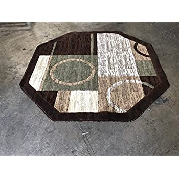 Modern Octagon Area Rug Brown With Green Americana Design 1497 (7 Feet 3 Inch X 7 Feet 3 Inch)