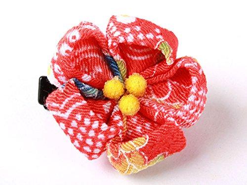 和風 梅花柄 ヘアピン 和装 髪飾り#オレンジレッド格柄