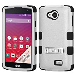 MyBat LG LS660 (TRIBUTE) TUFF Hybrid Phone Protector Cover with Stand - Retail Packaging - Natural Grey/Black