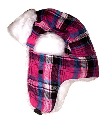 kids-plaid-trapper-bomber-hat-with-faux-fur-lining-unisex-assorted-colors-pink