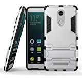 DWay Redmi Note 3 Cover Hybrid Armor Design with Stand-up Feature 2 In 1 Combo Dual Layer Detachable Protective Shell Phone Hard Back Cover Case for Xiaomi Redmi Note 3 5.5inches (Silver)