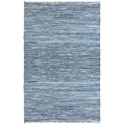 Matador Leather and Denim Dhurry Rug, 5 by 8-Feet, Blue