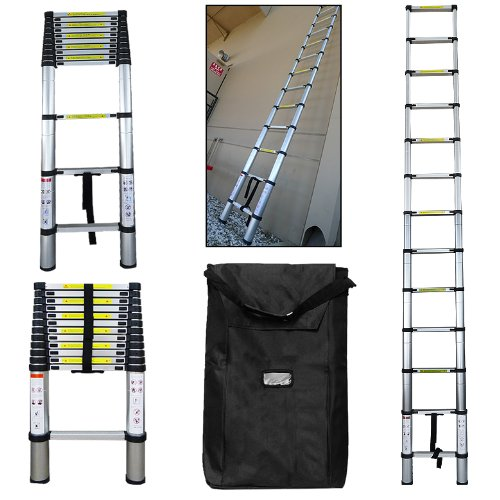 300LBS 12.5FT Telescoping Aluminum Extension Ladder EN131 Certified +FREE Wat... picture