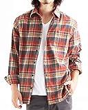 チェック柄ネルシャツ チェックシャツ 長袖 オンブレ メンズ カジュアル Mサイズ 11レッド