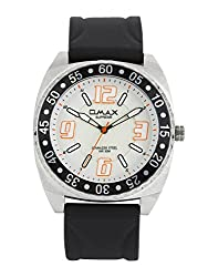 OMAX ANALOG WHITE DIAL WATCH (black)