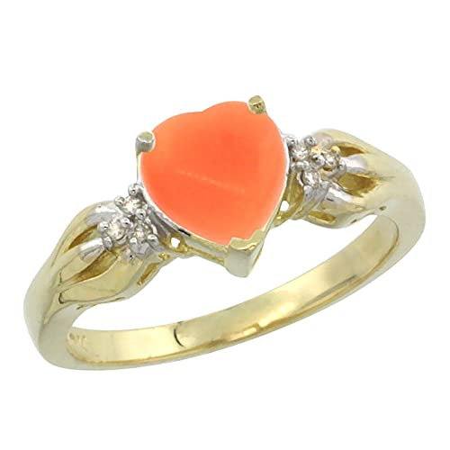 14ct Yellow Gold Natural Coral Ring Heart-shape 7x7mm Diamond Accent, sizes J - T