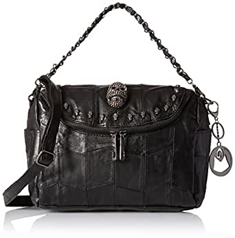 MG Collection Gothic Skull Studded Lambskin Convertible Shoulder Bag