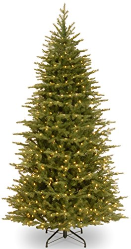 National Tree 'Feel-Real' Nordic Spruce Slim Hinged Tree With 600 Low Voltage Dual Led Lights With Plastic Caps, 7-1/2-Feet