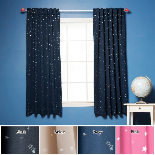 Star Print Thermal Insulated Blackout Curtain Set 63 L