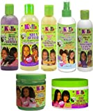 Kids Organics by Africa's Best Extra Virgin Olive Oil JUMBO BUNDLE (Conditioning Shampoo, Detangling Moisturizing Lotion, Oil Moisturizing Growth Lotion, Growth Oil Remedy, 2 In 1 Organic Conditioning Detangler, Smoothing And Styling Gel, Gro Strong Triple Action) Plus HALF-DOZEN Free of Apple EYE Pencil Color: Silver Violet
