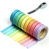 HeroNeo® 10x Decorative Washi Rainbow Sticky Paper Masking Adhesive Tape Scrapbooking DIY