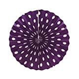 PrettyurParty Purple Polka Dots Paper Fans