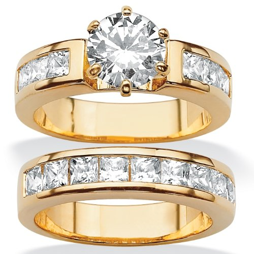 14k Gold-Plated Round and Princess-Cut DiamonUltra™ Cubic Zirconia Wedding Ring Set