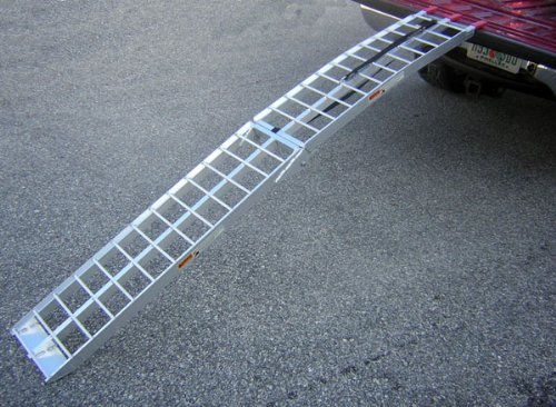 motorcycle folding loading ramp aluminum  dirt bike street bike lbs rated gayle  quint