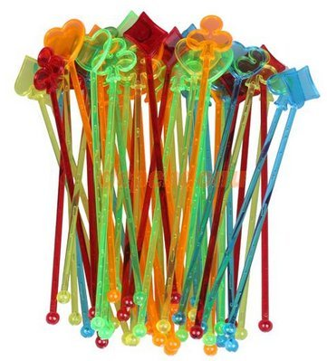 50 Count Poker Party Swizzle Stir Sticks, Plastic, 8 1/4 Long, Multicolored Cocktail Mixers (Plastic Cocktail Mixer compare prices)