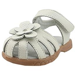 Orgrimmar Girls Genuine Leather Solid Flower Sandals (Toddler, Little Kid) (Toddler 6, White)
