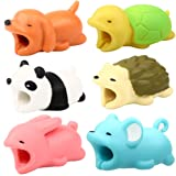 RHCPFOVR 6PCS Cable Bites for iPhone Cable Cord Cute Animal Phone Data Line Cell Phone Accessories Protects Cable Creative Gift (Color: 6PCS-1)