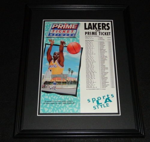 1993 Los Angeles Lakers Prime Ticket Schedule Framed ORIGINAL Advertisement (Prime Ticket compare prices)