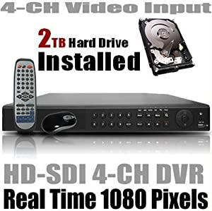 HQ-Cam HD SDI 4-Ch 1080P Real Time recording Security Surveillance DVR Pre-installed 2TB HDD