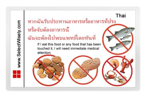 Nuts, Peanuts, Fish And Shellfish Allergy Translation Card - Translated In Croatian Or Any Of 67 Languages