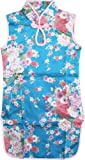 Girls Dress Blue Flower Silk Cheongsam Chinese Children Clothing Size 12m-8