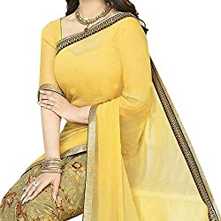 Pramukh saris Womens Georgette Printed Sari(Yellow)