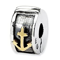 Reflection Beads Sterling Silver & 14k Reflections Hinged Anchor Clip Bead