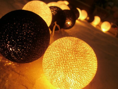 Black And Yellow Gold Cotton Ball String Lights Patio Wedding And Party Decoration (20Pcs./Set)
