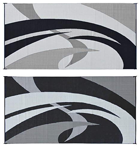 Reversible Mats 159181 Black/White 9'x18' Swirl Pattern Mat (Camping Outdoor Mat compare prices)