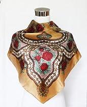"Satin Wine Floral Print on Brown - 100% Silk Square Scarf 35"" x 35"""