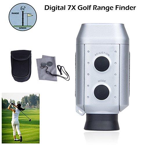 Lemonbest® Digital 7X Pocket Golf Range Finder Golf Scope Yards Measure Distance Golf Rangefinder Monocular With Padded Bag Silver