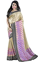 Suchi Fashion Gold and Pink Silk Crepe Printed Saree.