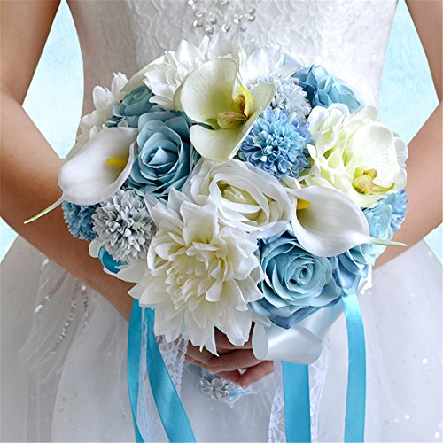 Zebratown 9'' Daisy Artificial Calla Chrysanthemum Flower Blue Rose Wedding Bouquet Party Home Decor (Blue)