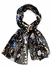 Indigo Collection Lightweight Oriental Floral Scarf