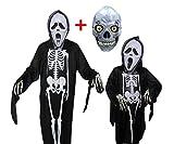 ハロウィン ガイコツ メンズ コスチューム スケルトン ゴースト 衣装 セット (親子セット+ハーフフェイスマスク)