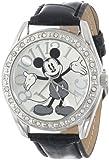 Disney Unisex MK1015 Mickey Mouse Silver Dial Black Crocodile Strap Watch