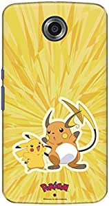 The Racoon Lean printed designer hard back mobile phone case cover for Google Nexus 6. (pikachu an)