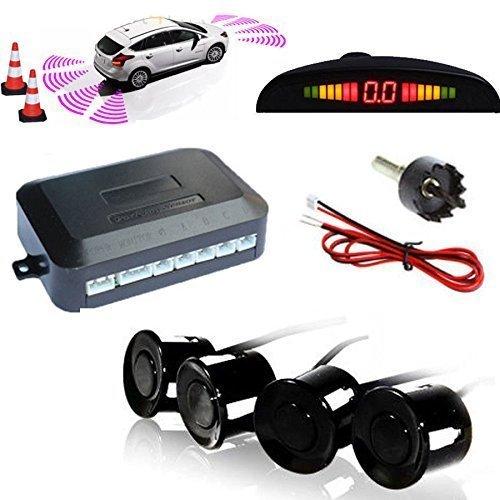 KFZ Summer Einparkhilfe Rückfahrhilfe 4 hinten Sensoren Hinter mit LED Farb Display Auto Parken Sensor System Pieper Radar Kit Hinter Schwarz